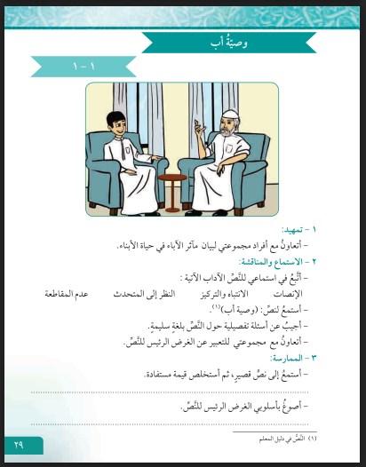 كتاب لغتي العربية الصف السادس الفصل الاول