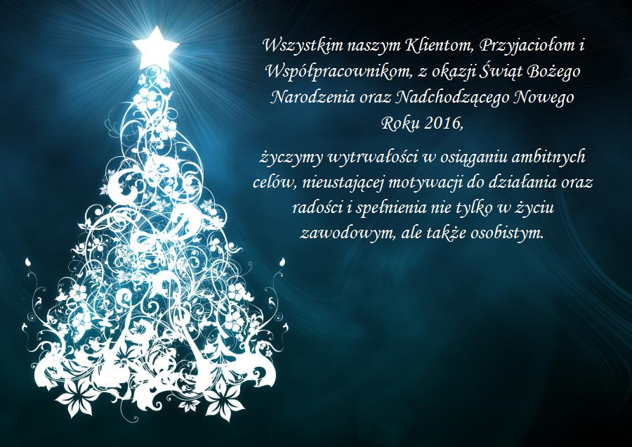 Wesołych Świąt dla wszystkich Klientów i Partnerów