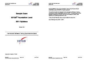 ISTQB Foundation Level Sample Exam V2.6 Answers EN