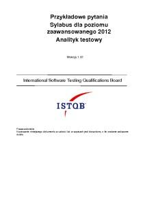 Przykładowy egzamin ISTQB Poziomu Zaawansowanego Analityk Testów