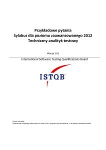 Przykładowy egzamin ISTQB-Poziomu-Zaawansowanego-Techniczny Analityk Testów 2012
