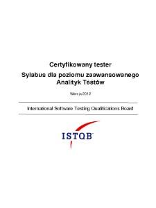 Sylabus ISTQB Poziomu Zaawansowanego Analityk Testów