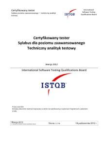Sylabus ISTQB Poziomu Zaawansowanego Techniczny Analityk Testow 2012 PL