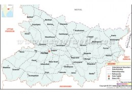 Which country is to the north of Bihar?