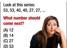 Look at this series: 53, 53, 40, 40, 27, 27, … What number should come next?