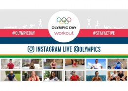 Who host the third workout of Olympic Day on the Olympics Instagram account?
