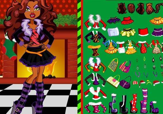 Clawdeens Christmas Monster High Dress Up Girls Game