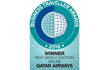 Qatar Airways was named as the Best Middle Eastern Airline at the 2016 Business Travllers awards in London