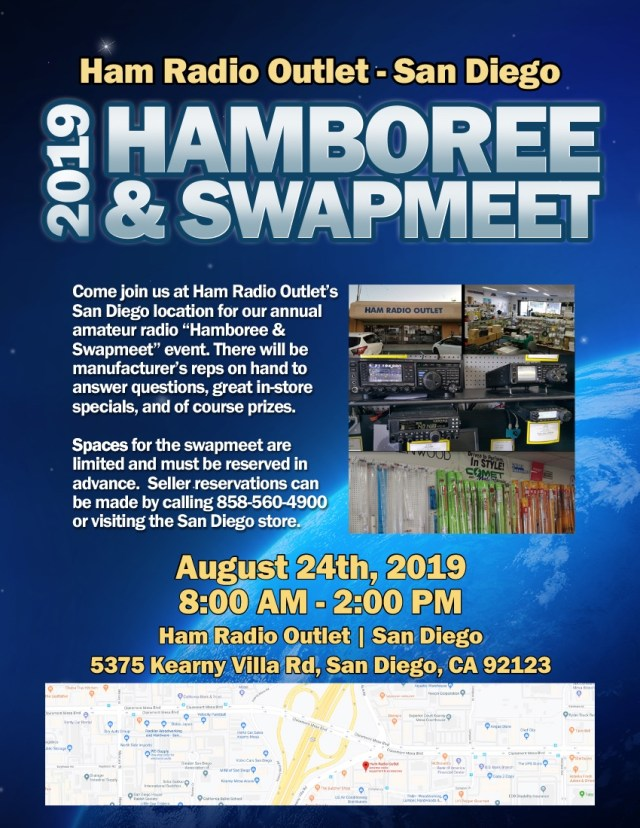 The swapmeet will run from 8:00am - 2:00 PM atHam Radio Outlet - Parking lot5375 Kearny Villa Rd,San Diego, California 92123
