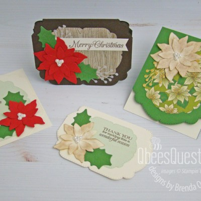 Stampin' Up Poinsettia Fancy Edge Christmas Cards
