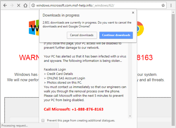 tech support scam message affecting Google Chrome browser
