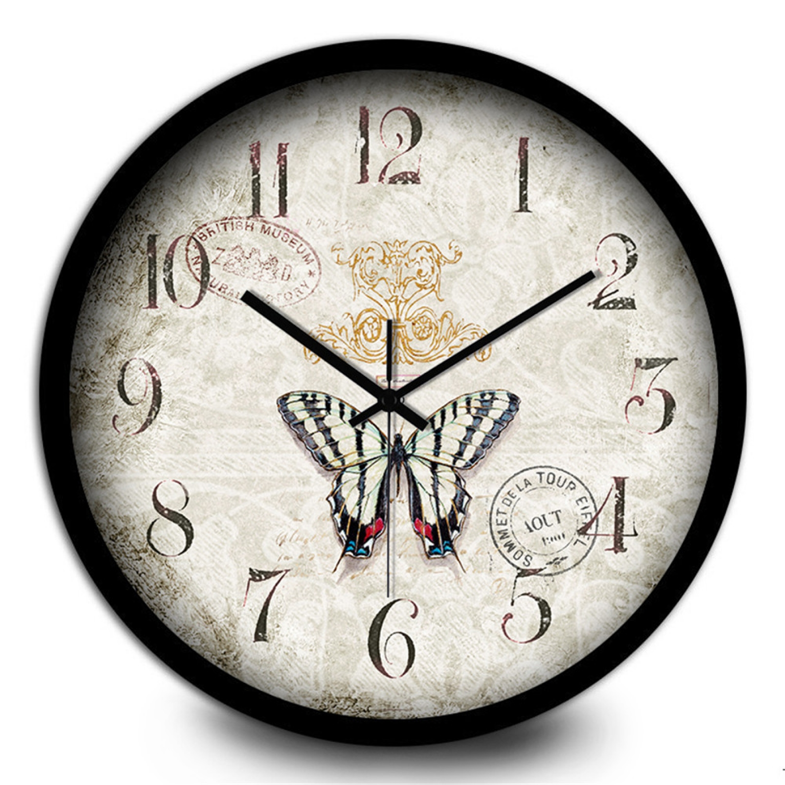Non Ticking Silent Metal Frame Wall Clock With Vintage And Nice Design For Living Room Large