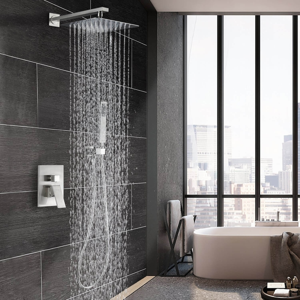 luxury rain shower system wall mounted shower combo set with high pressure 12 inch square rain shower head and handheld shower faucet set brushed