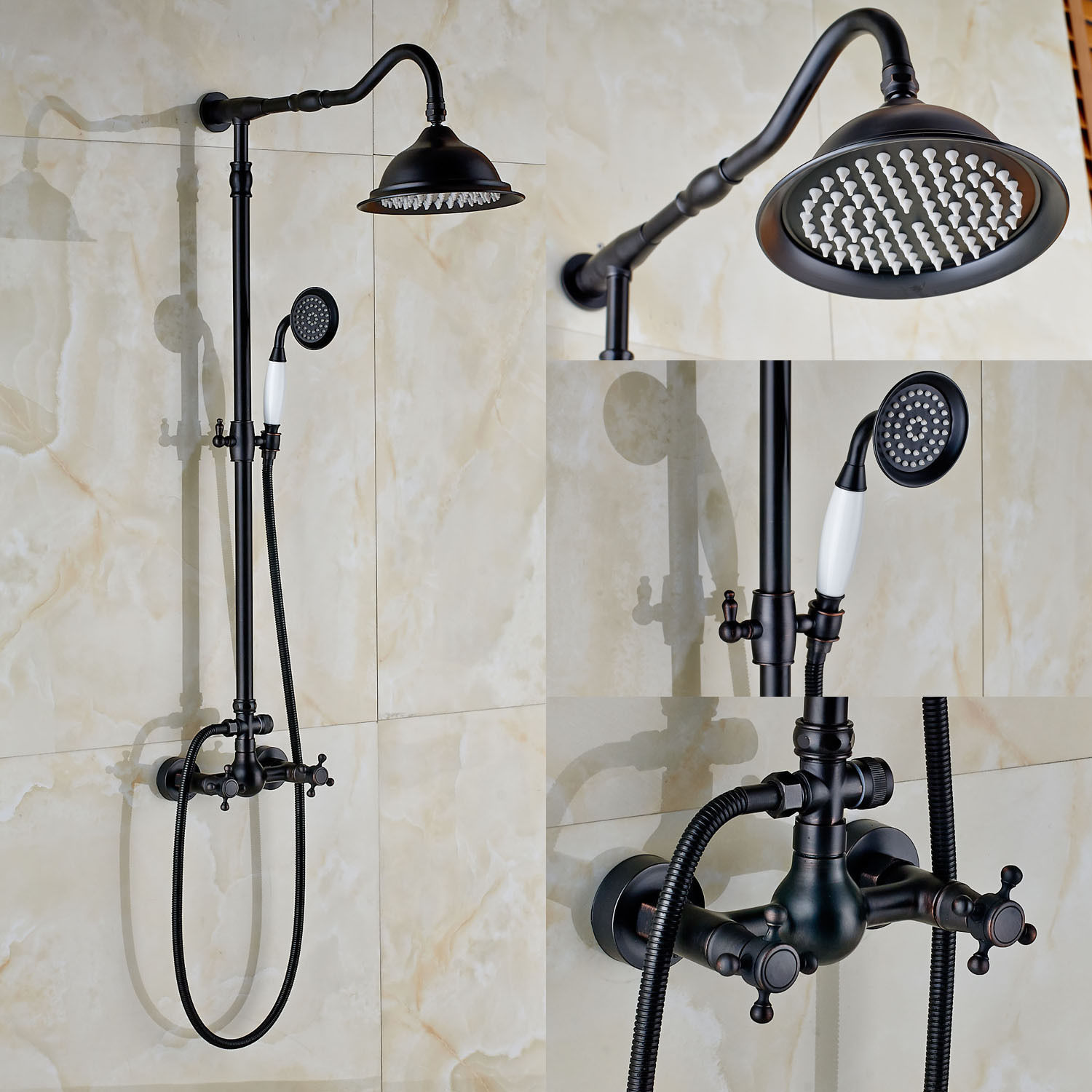 Oil Rubbed Bronze Bath Rain Shower Faucet Set Tub Mixer Tap With Hand Sprayer