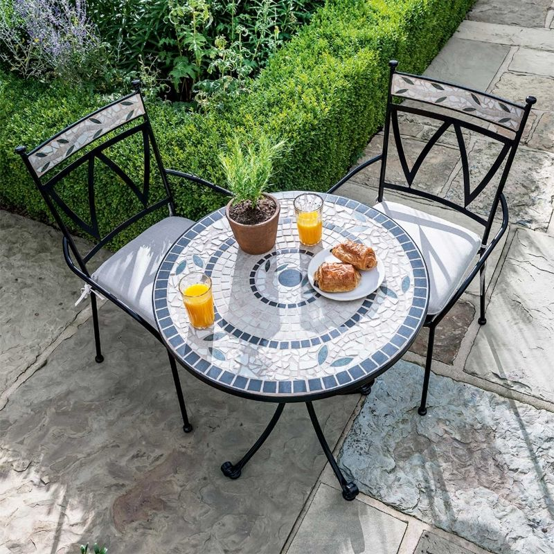 sunbury metal round garden bistro set mosaic 2 seats