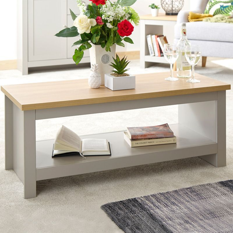 lancaster large coffee table grey oak 1 shelf