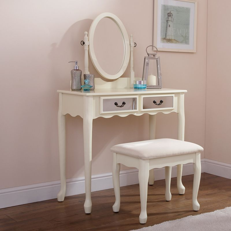matilda dressing table cream mirrored 2 drawer with stool