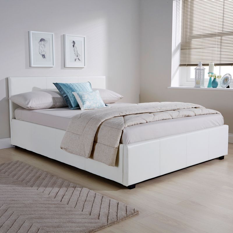 winston side lift small double ottoman bed white faux leather