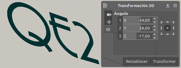 Texto 3D GIMP. 2- Transformación 3D de la capa de texto