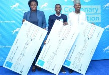 Winners of Union Bank Centenary Innovation Challenge pose with their cheques