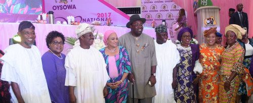 Osun State Governor, Ogbeni Rauf Aregbesola (left); former Vice President, Republic of Zimbabwe, Dr. Joice Teurai Mujuru (2nd left); Oyo State Governor, Sen. Abiola Ajimobi (3rd left); his wife, Florence (4th left); Bayelsa State Governor, Mr. Seriake Dickson (middle); Lagos State Governor, Mr. Akinwunmi Ambode (4th right); his wife, Bolanle (3rd right); South West Women Leader of All Progressives Congress (APC) , Chief (Mrs) Kemi Nelson (2nd right) and wife of Edo State Governor, Mrs. Betsy Obaseki (right) during the OYSOWA National Women Conference 2017 at the International Conference Centre, University of Ibadan, Oyo State, on Wednesday, December 6, 2017.