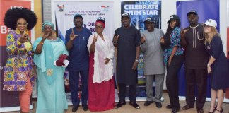 Afro Musician, Muma Gee; Permanent Secretary, Ministry of Information & Strategy, Mrs. Kofoworola Awobamise; Commissioner for Information & Strategy, Mr. Steve Ayorinde; Special Adviser to the Governor on Tourism, Arts & Culture, Mrs. Aramide Giwason; Fuji Musician, Adewale Ayuba; Permanent Secretary, Ministry of Tourism, Arts & Culture, Mr. Folarin Adeyemi; Nollywood Actress, Toyin Abraham; Chief Press Secretary to the Governor, Mr. Habib Aruna and Project Director, Video Documentary Lagos, PENRESA, Sarah Evans during a press conference on the 2017 One Lagos Fiesta at the Bagauda Kaltho Press Centre, Alausa, Ikeja, on Friday, December 15, 2017.