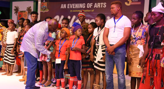 Akinwunmi Ambode with dreamcatchers on Childrens day