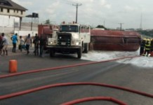 Fallen tanker on Otedola Bridge