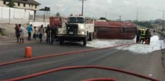 Fallen tanker on Otedola Bridge