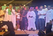 Olusegun Obasanjo joins Yemi Shodimu and others on stage for Aremu the play