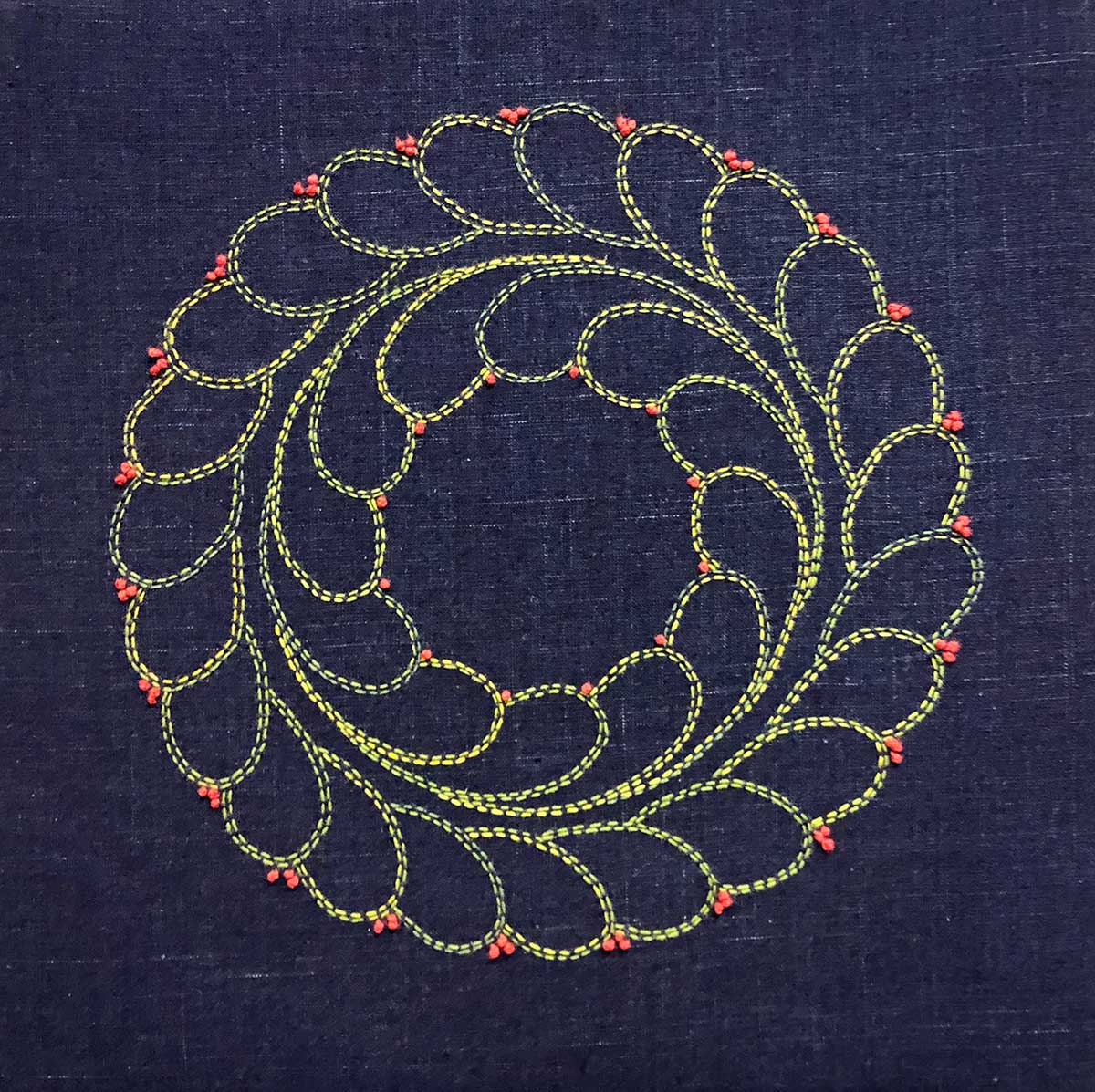 Boxwood Sashiko Wreath © Susan Ball Faeder