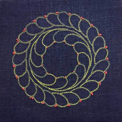 Boxwood Sashiko Wreath © Susan Ball Faeder