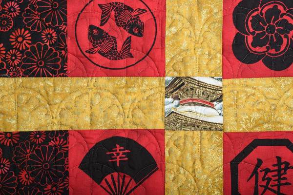 Detail of Red & Black Nine-Patch Quilt © Susan Ball Faeder