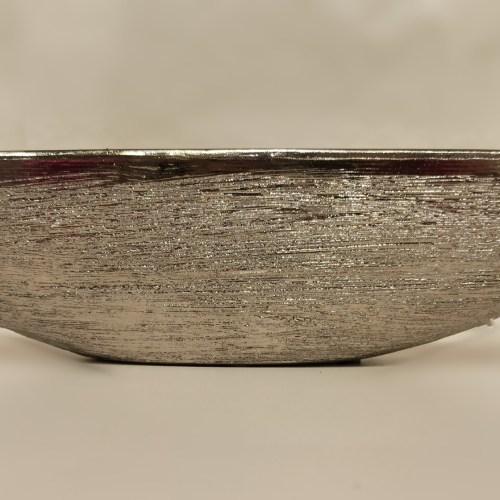 vaso em barca cerâmica prateado