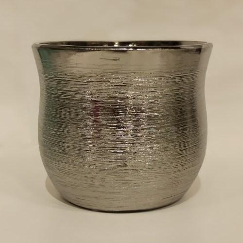 vaso cerâmica bowl prateado