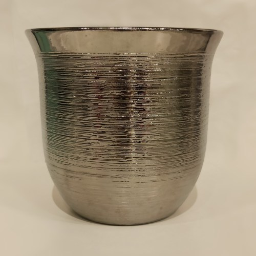 vaso ceramica bowl prateado