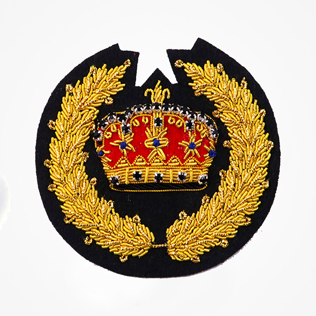 Hand Embroidered Crown And Leaf Blazer Badges Crest - Fashionable 3D embroidered look Made by skilled artisans Bullion wire and silk thread hand Stitched on Black color Felt Available in gold and silver colors Size = 3.5 inches sew-on backing: Perfect for caps, sports jacket, leather jackets, blazer coat, Blazer Pocket, shirts uniforms, Accessories and many More Pin backing: easy to removable 5