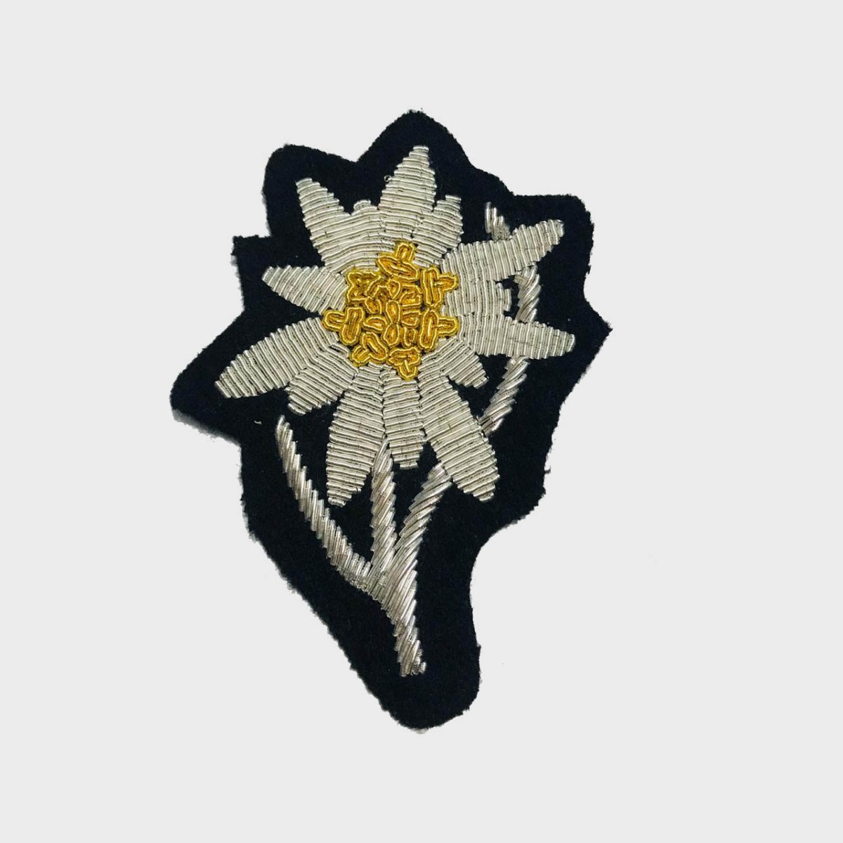 Edelweiss Flower Bullion Embroidered Badge , Sew-on Applique Patch - Edelweiss EmbroideredPatch Size # 3inches Sew-on backing Silverbullion wires embroidered on felt  2