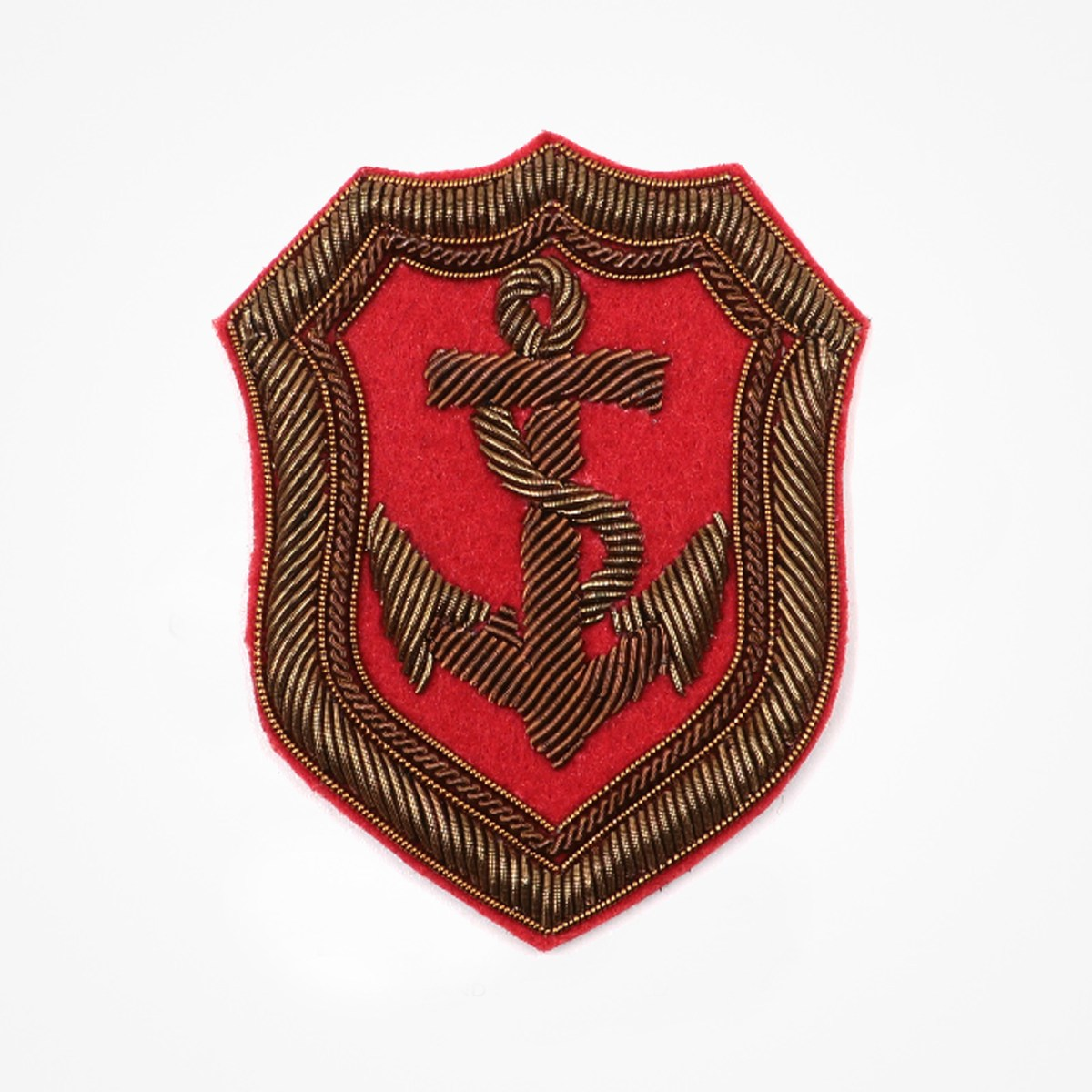 Anchor Shield - Anchor Shield Embroidered patch Fashionable 3D embroidered look Made by skilled artisans Bullion wire and silk thread hand Stitched on Black color Felt Available in gold and silver colors Size = 65mm height x 55mm width sew-on backing: Perfect for caps, sports jacket, leather jackets, blazer coat, Blazer Pocket, shirts uniforms, Accessories and many More Pin backing: easy to removable 4