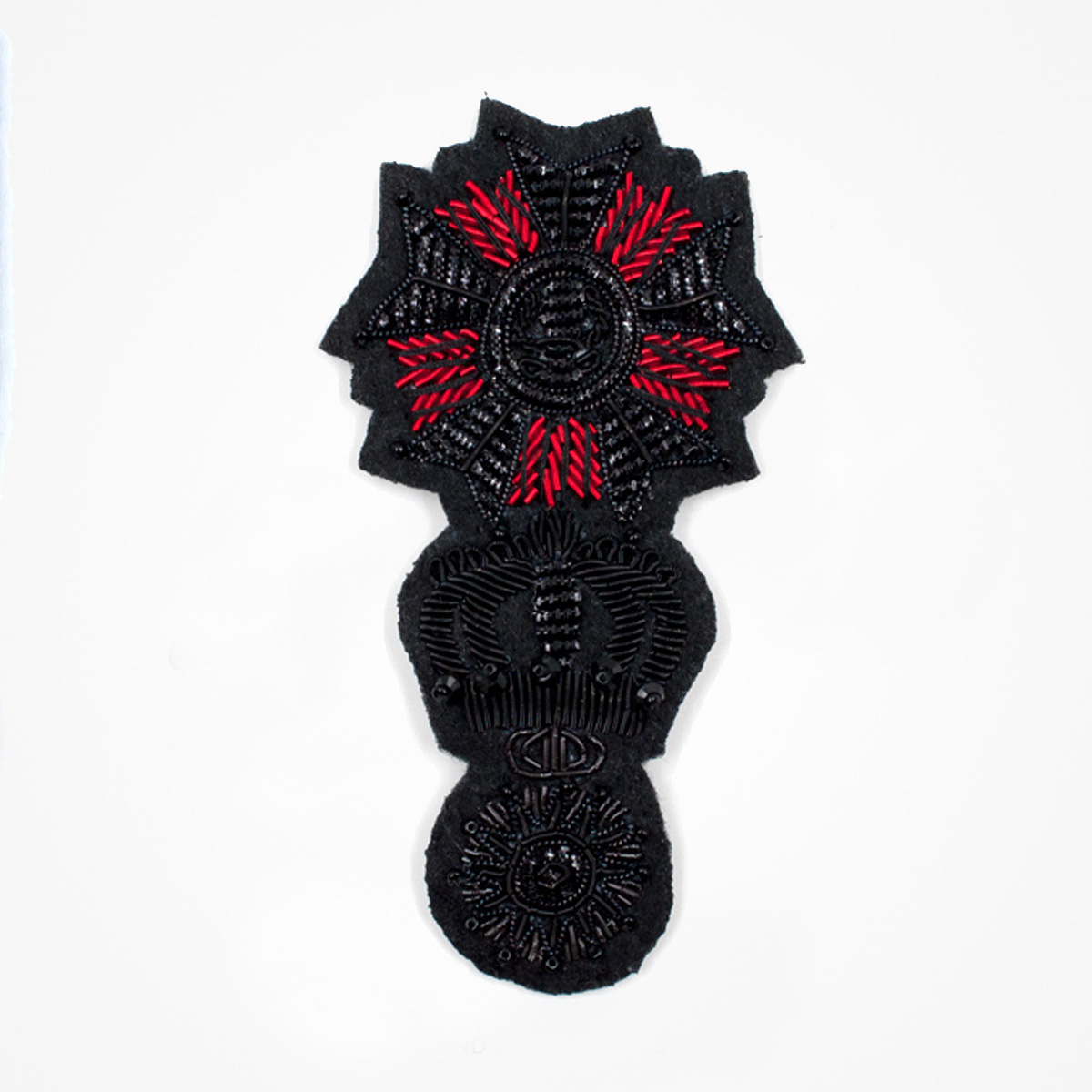 Qg - 3512 - Fashionable 3D embroidered look Made by skilled artisans Bullion wire and silk thread hand Stitched on Black color Felt Available in gold and silver colors Size = 82 mm height 47 mm width sew-on backing: Perfect for caps, sports jacket, leather jackets, blazer coat, Blazer Pocket, shirts uniforms, Accessories and many More Pin backing: easy to removable 5