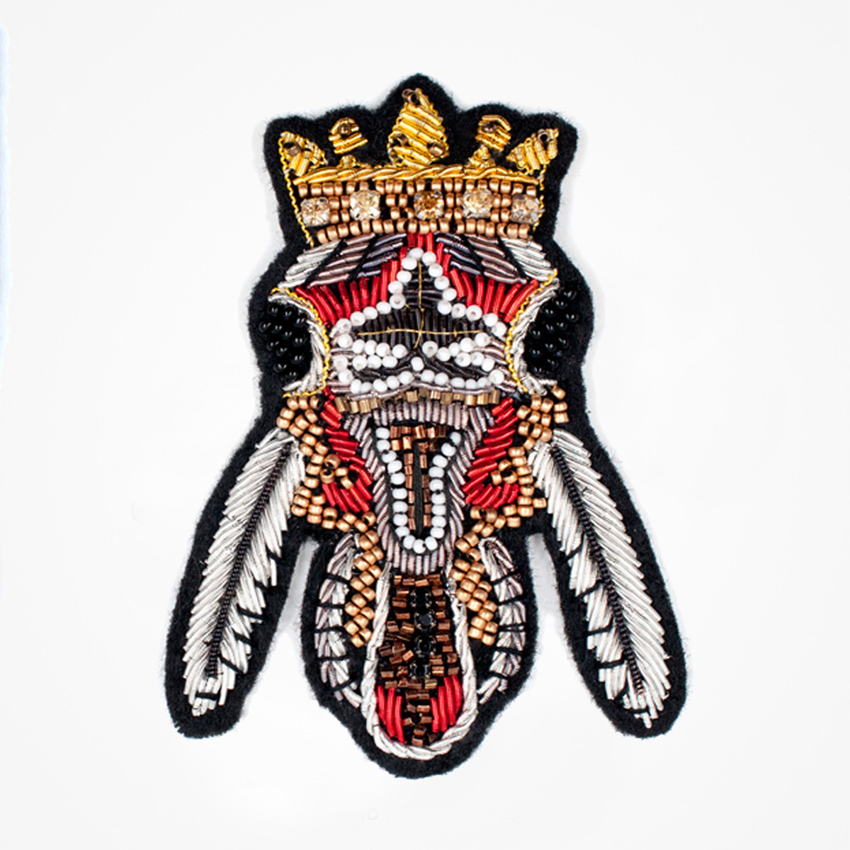 Crown Red Fly Fashion bullion blazer badges - Fashionable 3D embroidered look Made by skilled artisans Bullion wire and silk thread hand Stitched on Black color Felt Available in gold and silver colors Size = 78 mm height 55 mm width sew-on backing: Perfect for caps, sports jacket, leather jackets, blazer coat, Blazer Pocket, shirts uniforms, Accessories and many More Pin backing: easy to removable 5