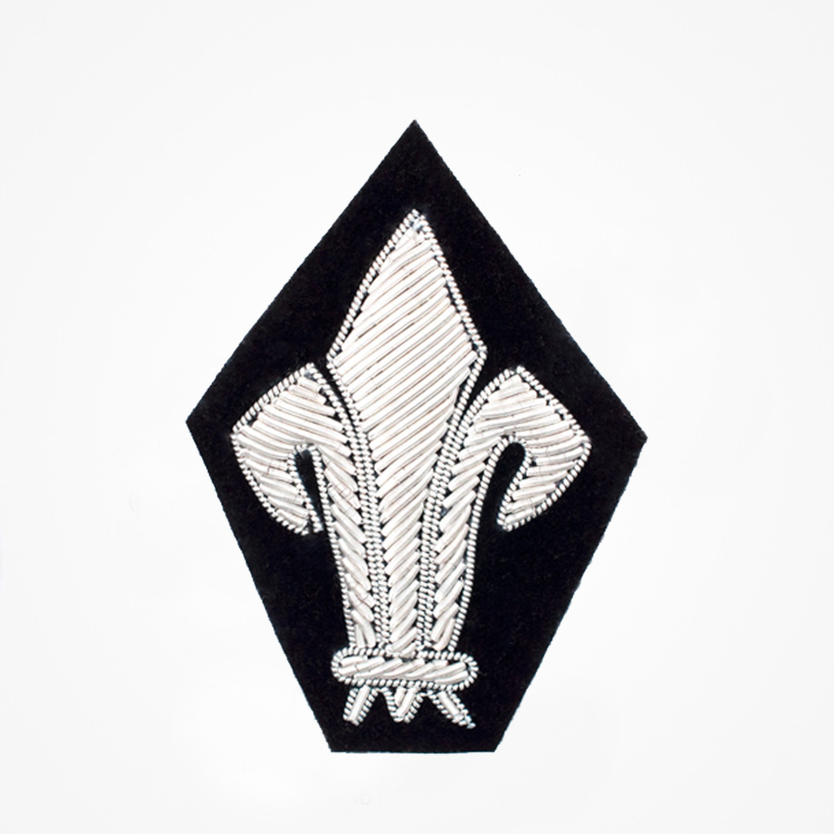 Qg - 3559 - Fashionable 3D embroidered look Made by skilled artisans Bullion wire and silk thread hand Stitched on Black color Felt Available in gold and silver colors Size = 65 mm height 45 mm width sewon backing: Perfect for caps, sports jacket, leather jackets, blazer coat, Blazer Pocket, shirts uniforms, Accessories and many More Pin backing: easy to removable 5