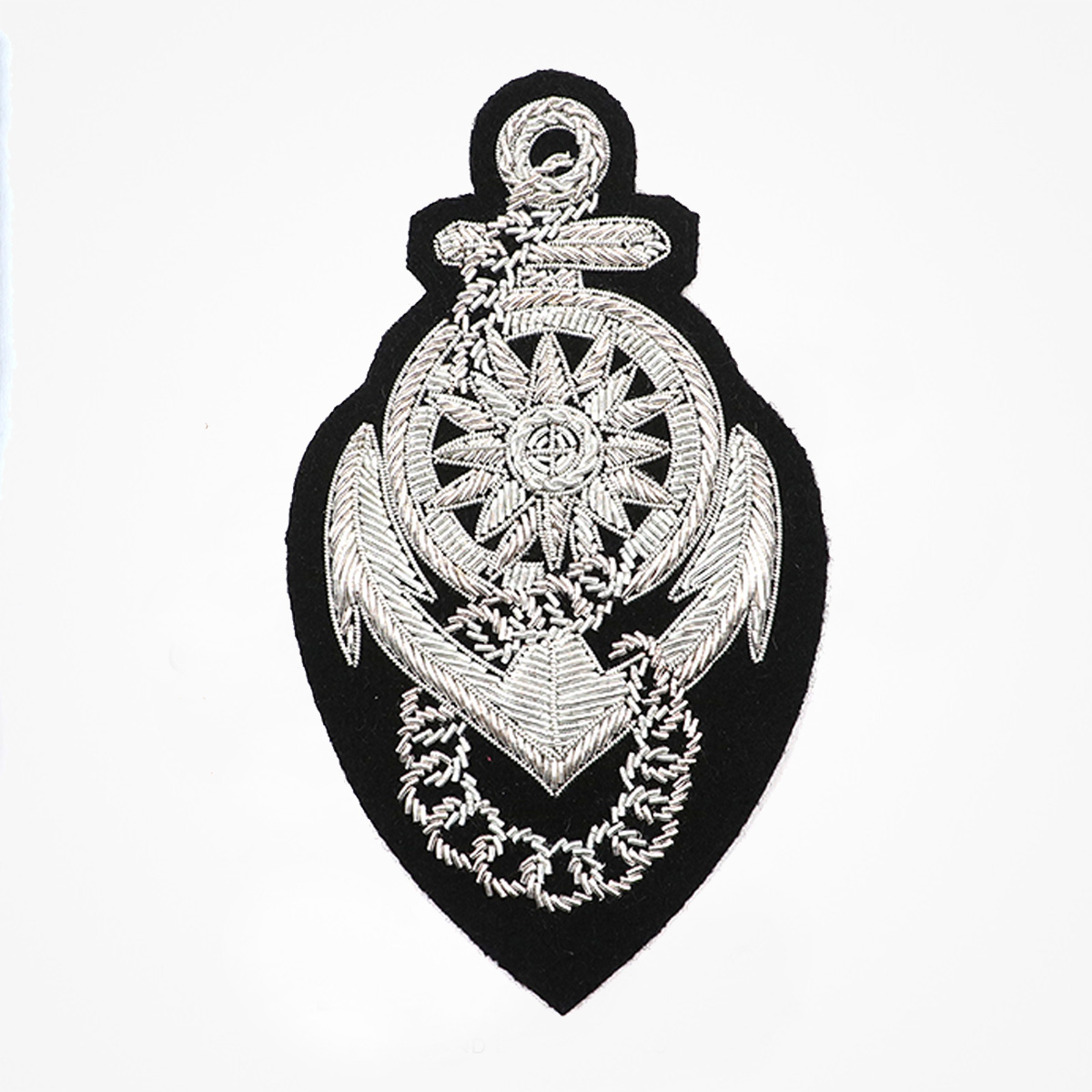 Qg - 3498 - Fashionable 3D embroidered look Made by skilled artisans Bullion wire and silk thread hand Stitched on Black color Felt Available in gold and silver colors Size = 130 mm height 75 mm width sew-on backing: Perfect for caps, sports jacket, leather jackets, blazer coat, Blazer Pocket, shirts uniforms, Accessories and many More Pin backing: easy to removable 5