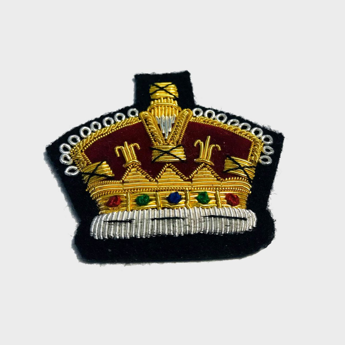Royal Crown Bullion Embroidered Blazer Crest Patch - Fashionable 3D embroidered Royal Crown Crest Made by skilled artisans Bullion wire hand Stitched on Black colour Felt Size is approx 2x2 inches sew-on backing only 5