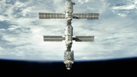 WATCH: International Space Station rotating 57 degrees mid-orbit during engine test of spacecraft bringing back Russian film crew