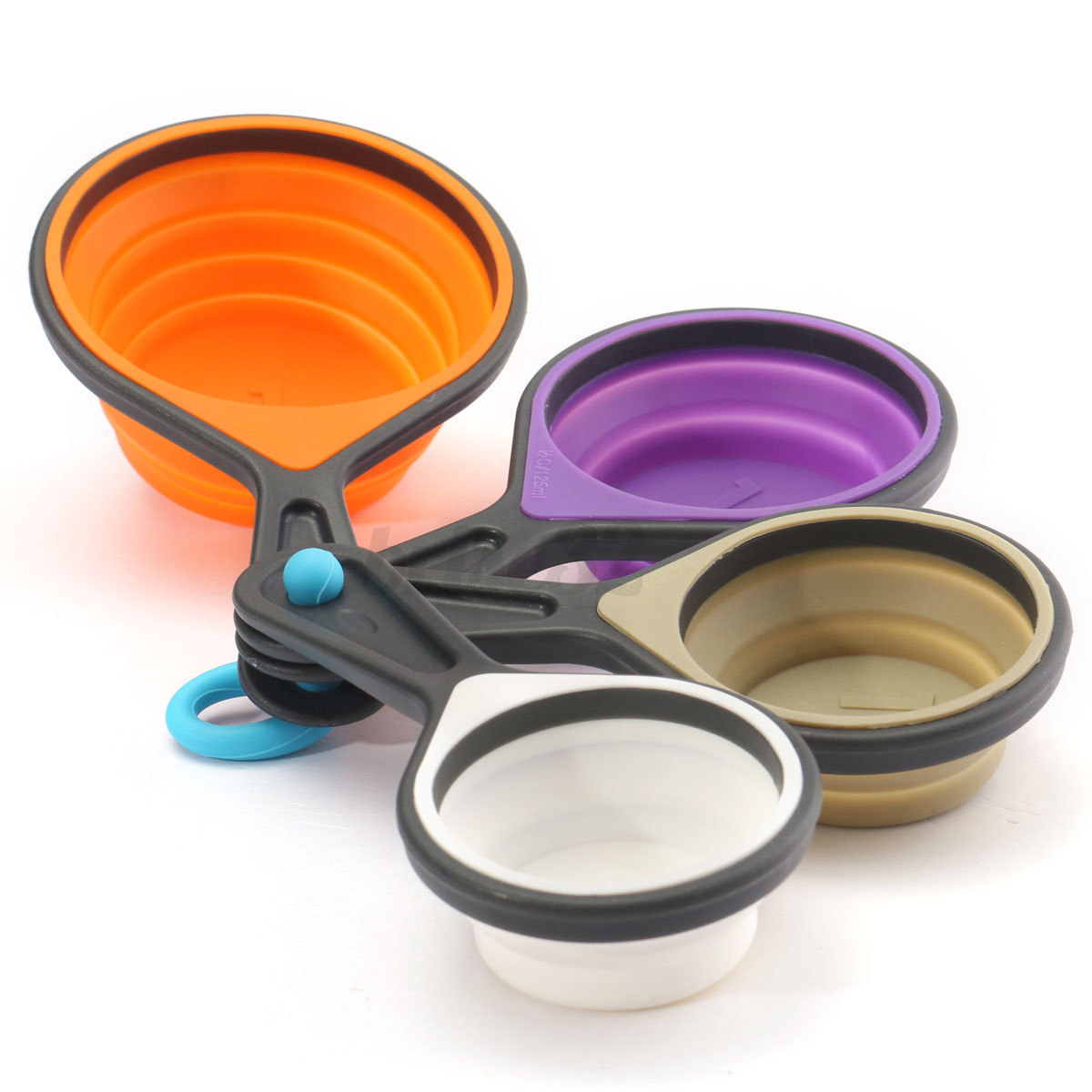 4 8pcs Silicone Measuring Cups Spoon Collapsible Kitchen