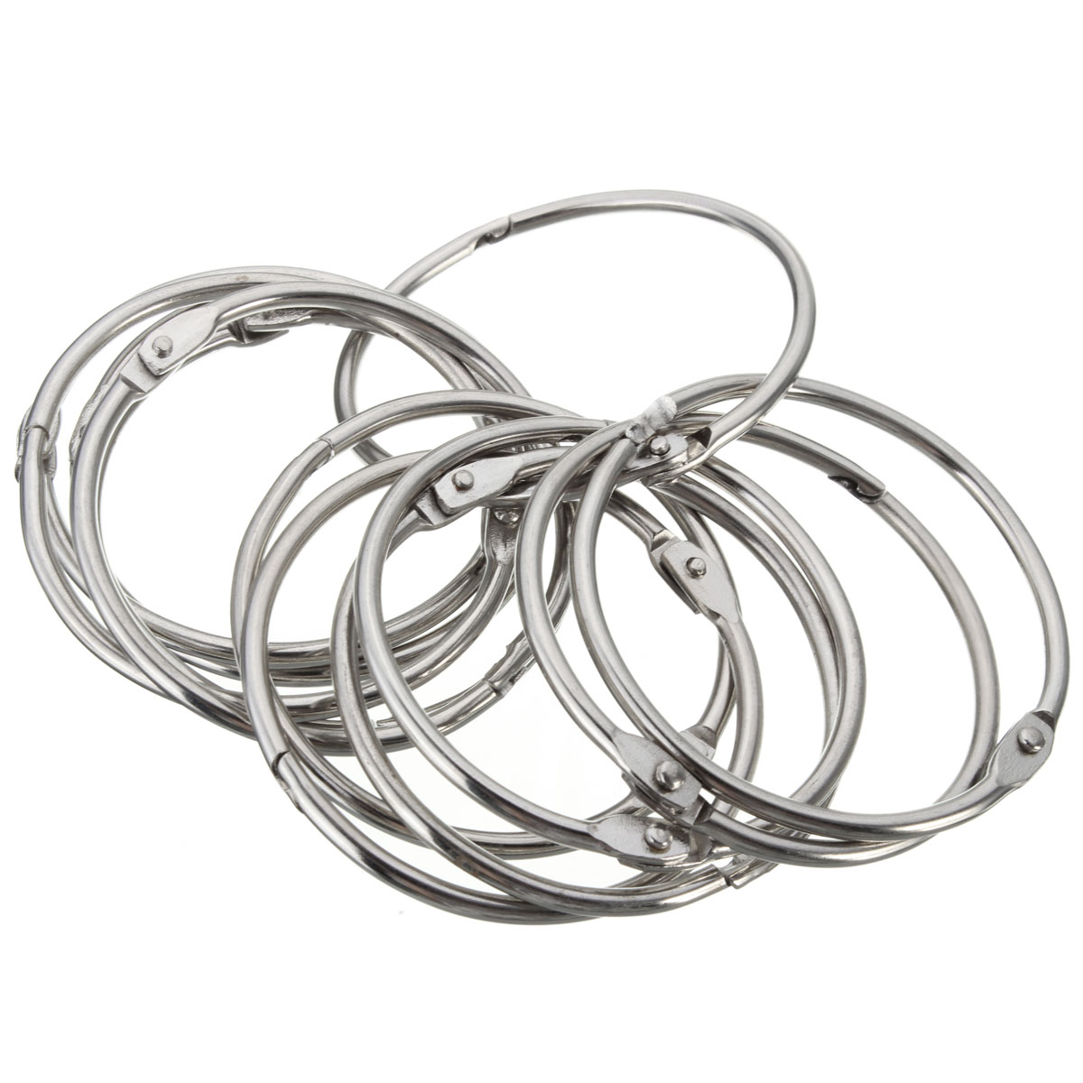 12pcs Silver Round Circular Stainless Steel Shower Curtain Hooks Rings Anti Rust