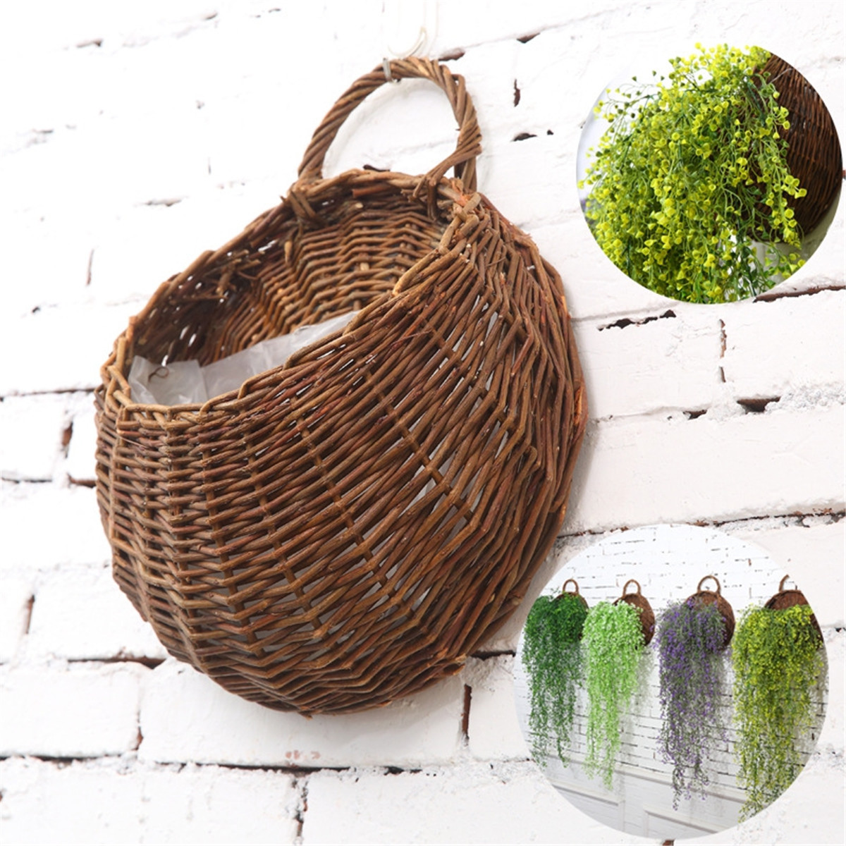 Wicker Wall Hanging Flower Pocket Basket Garden Outdoor ... on Decorative Wall Sconces For Flowers Hanging Baskets Delivery id=78272