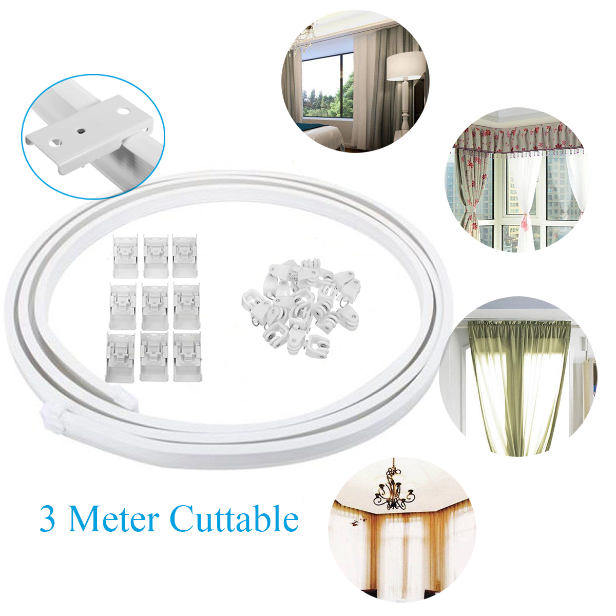 ceiling curtain track curved window rod