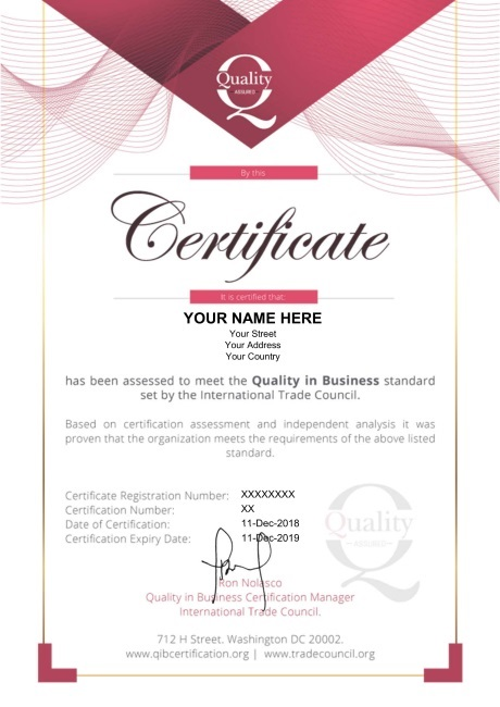 Quality in Business Certification